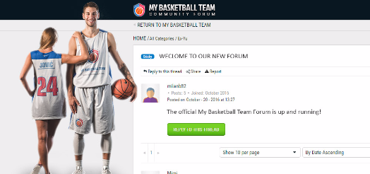 My Basketball Team's In-Game Forum Officially starts!